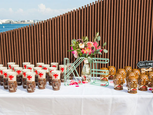 tiki head cups for a wedding party