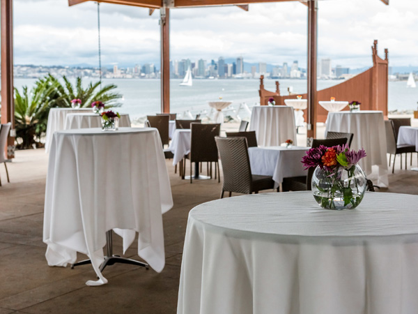 Dining room for wedding reception with view