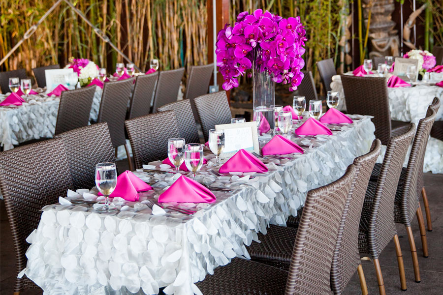A decorated table for a wedding reception