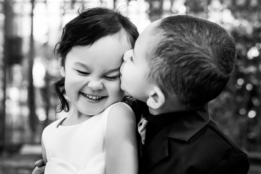 Brother and sister at a wedding