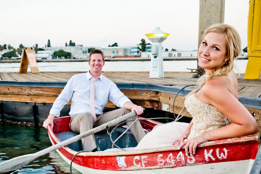 A couple in a boat on the water