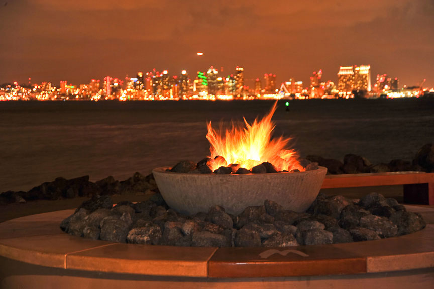 fireplace with a view of downtown San Diego