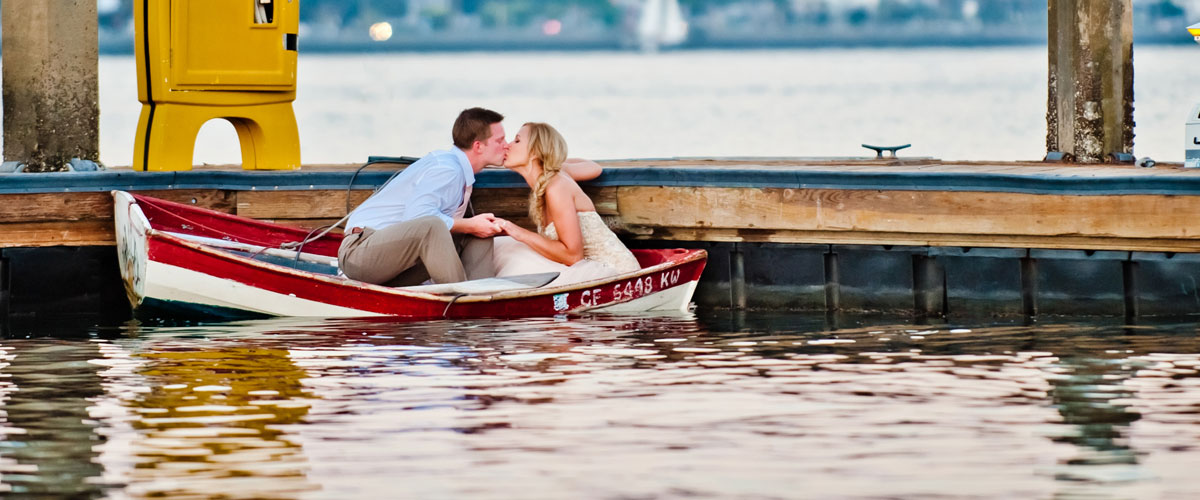 Couple in a small boat on the water
