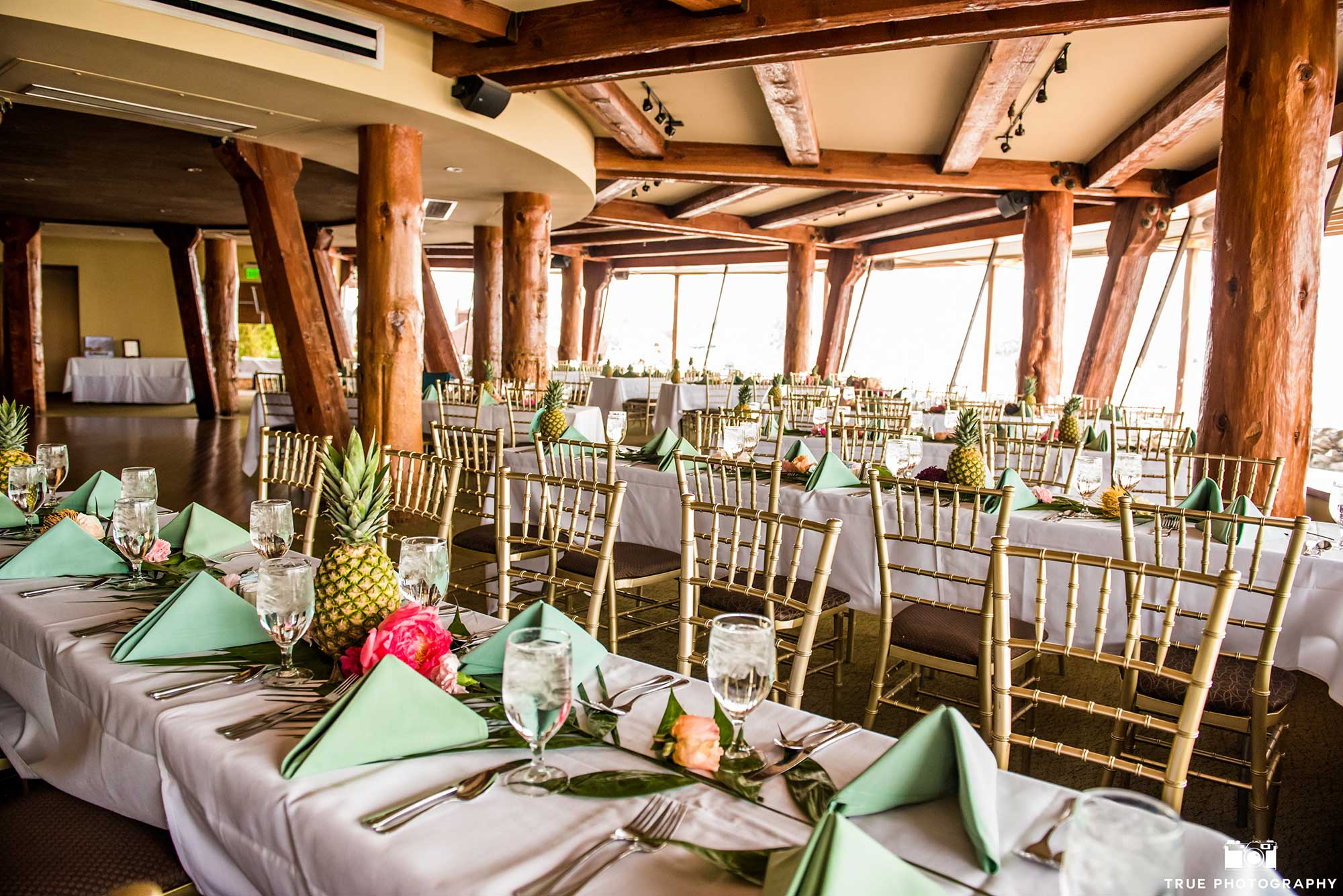 A wedding dining room by the water
