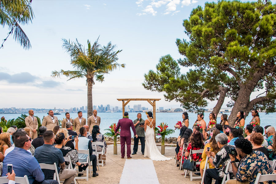 A wedding ceremony with the view of san diego